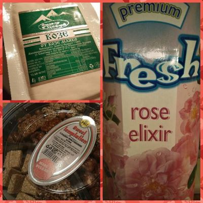 Немного болгарских вкусностей: нектар из розы, козий сыр и орехи в меду:) / Some #Bulgarian #treeties of the 1st day: #rose elixir, goat #cheese and #honey #nuts and seeds:)