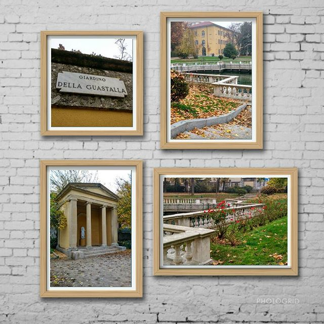 Крошечный парк Giardini Della Guastalla неподалёку от университета и Дуомо. Пруд, опавшие листья и трогательно продолжают цвести розы! #giardini #milan #milano #italia #italy #autumn #gloomyweather #collage
